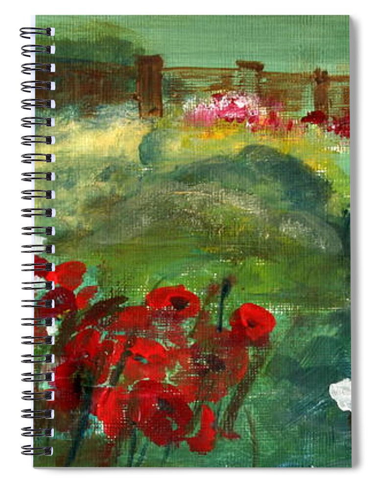 Paintings Spiral Notebook featuring the painting Garden View by Julie Lueders