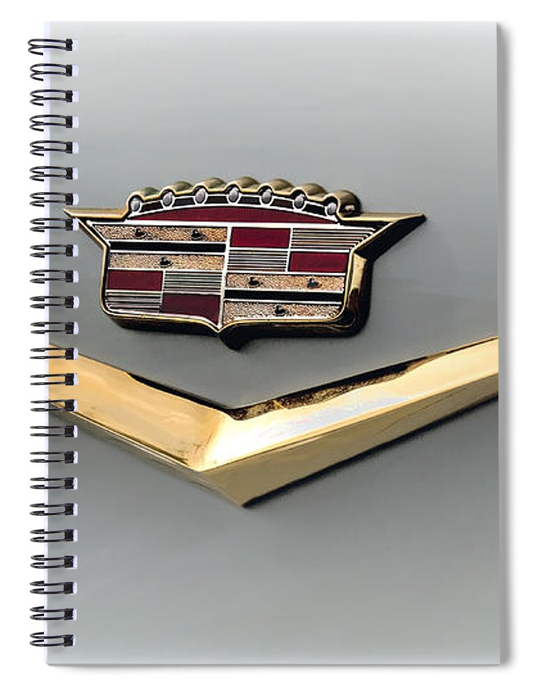 Cadillac Spiral Notebook featuring the digital art Gold Badge Cadillac by Douglas Pittman