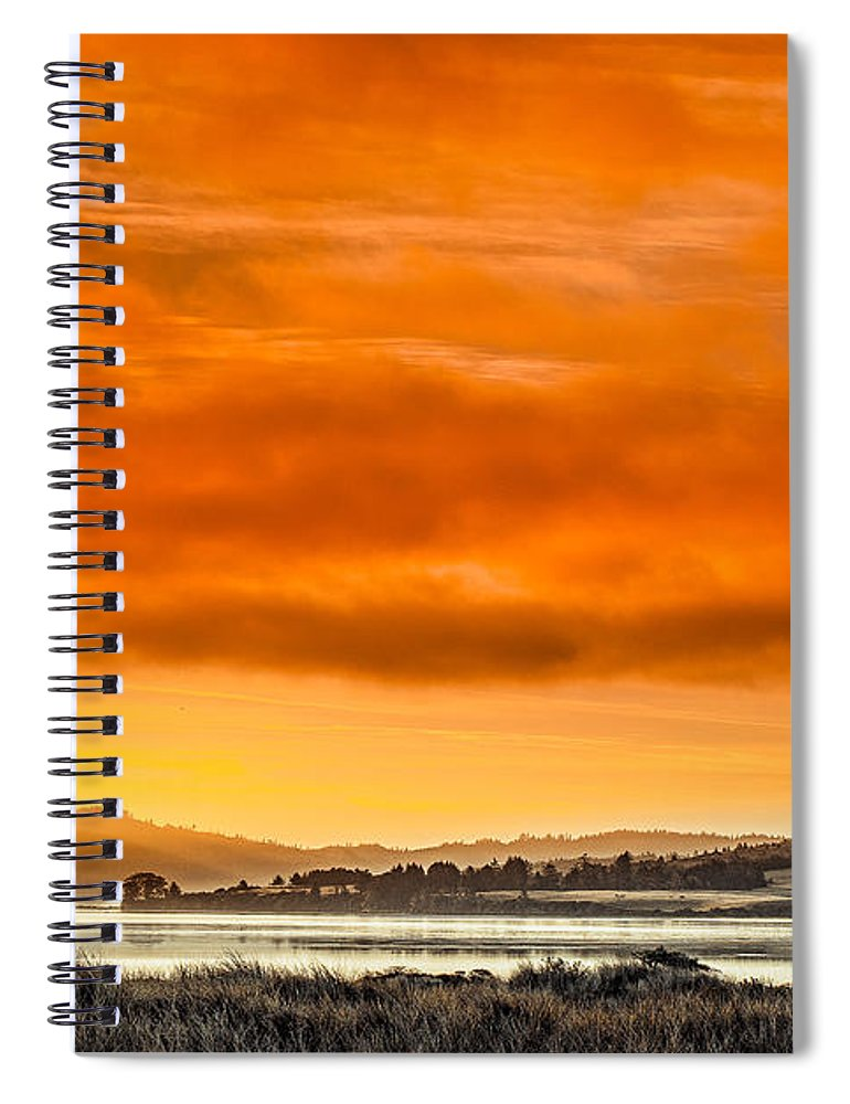 Humboldt Bay Spiral Notebook featuring the photograph Golden Morning Over Humboldt Bay by Greg Nyquist