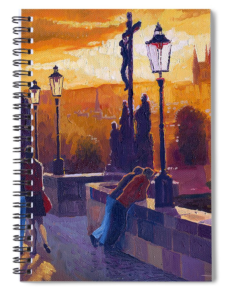 Oil On Canvas Spiral Notebook featuring the painting Golden Prague Charles Bridge Sunset by Yuriy Shevchuk
