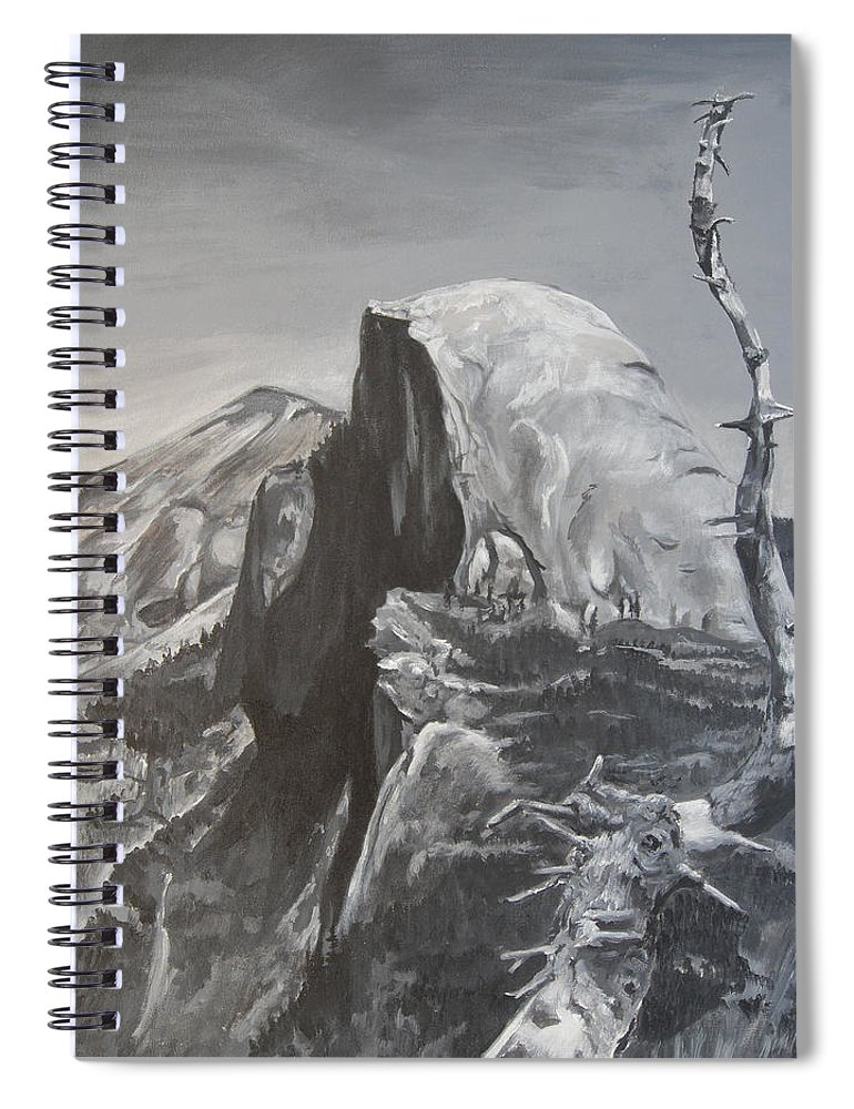 Black And White Painting Spiral Notebook featuring the painting Half Dome Tree by Travis Day