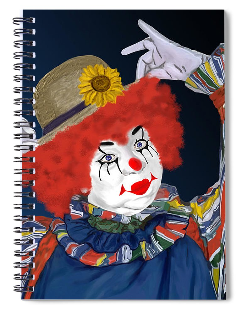 Happy Clown Spiral Notebook featuring the painting Happy Clown by Methune Hively