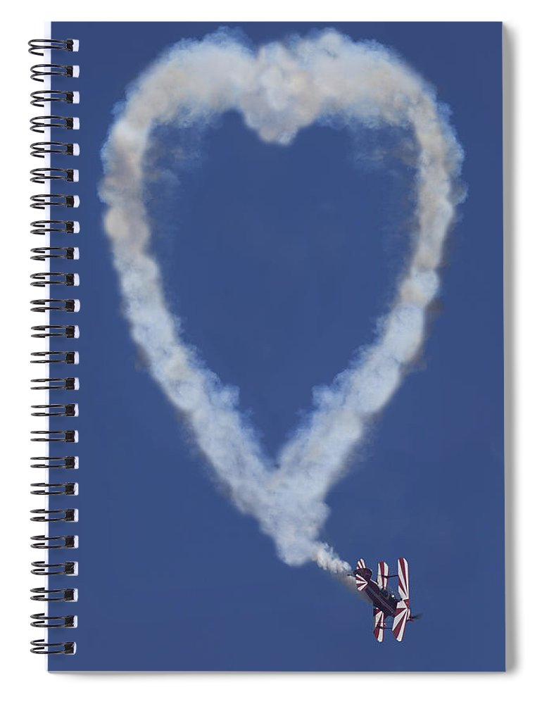 Plane Spiral Notebook featuring the photograph Heart Shape Smoke And Plane by Garry Gay