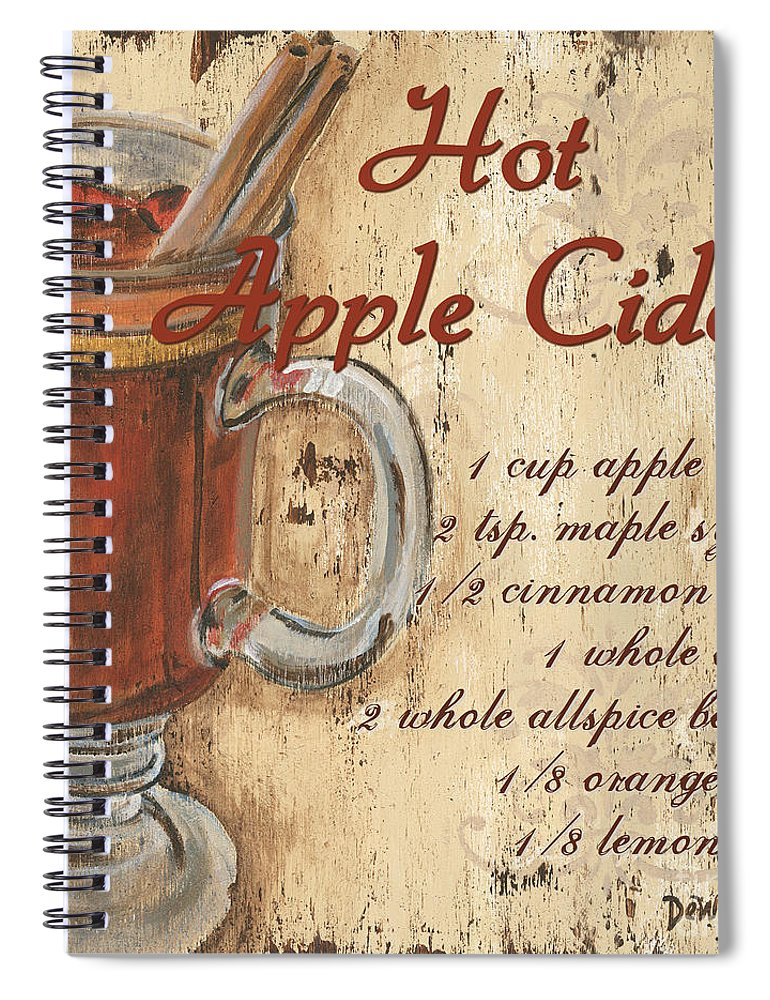 Hot Apple Cider Spiral Notebook featuring the painting Hot Apple Cider by Debbie DeWitt
