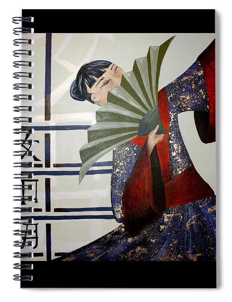 Japanese Spiral Notebook featuring the painting Kisaragi by Kate Fortin