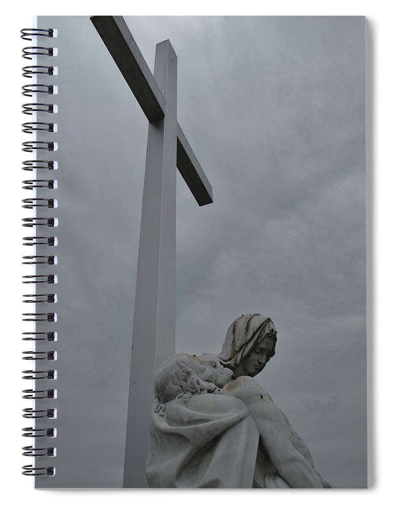 Lady Of Calvery Spiral Notebook featuring the photograph Lady And Cross by Michele Nelson