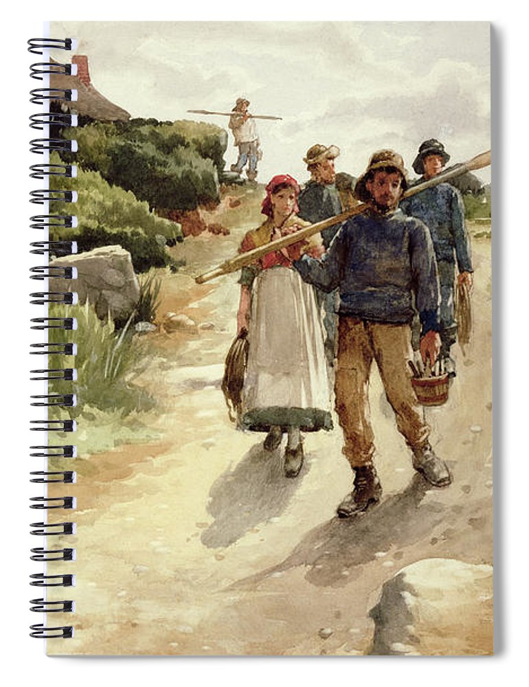 C19th; C20th; Genre; Newlyn School; Victorian; Fishermen; Peasant; Morning; Going To Work; Rural Fishing Community; Cornish Coast; Coastal Spiral Notebook featuring the painting Lamorna Cove Cornwall by Walter Langley