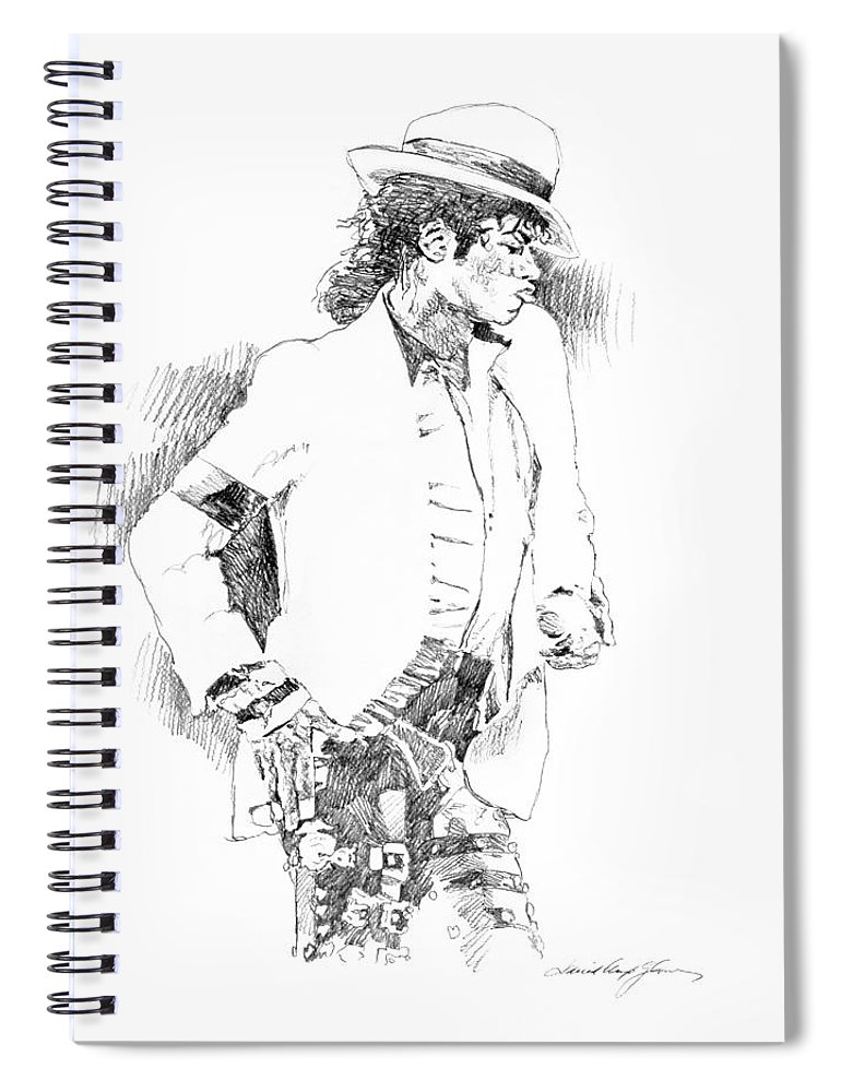 Michael Jackson Drawing Spiral Notebook featuring the painting Michael Jackson Attitude by David Lloyd Glover