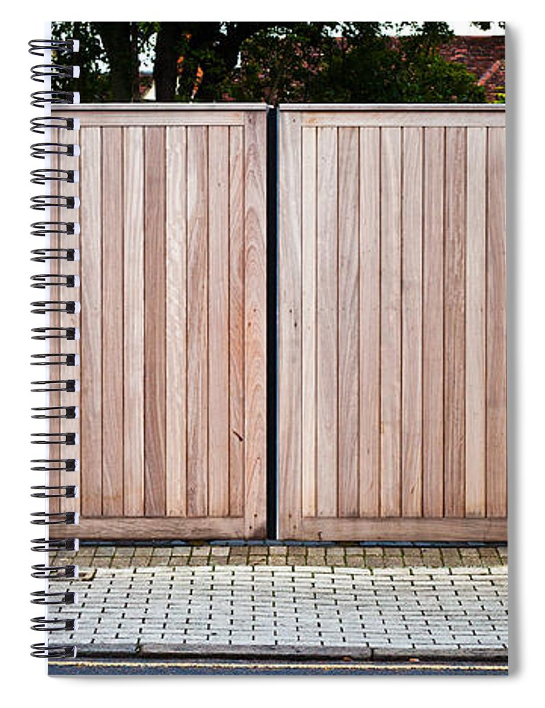 Architecture Spiral Notebook featuring the photograph Modern Gate by Tom Gowanlock