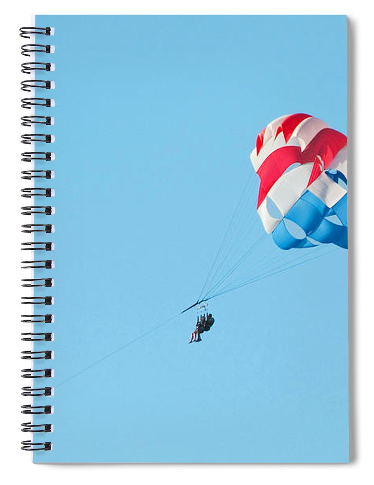 Parasailing Spiral Notebook featuring the photograph Parasailers over Marco by Christine Stonebridge