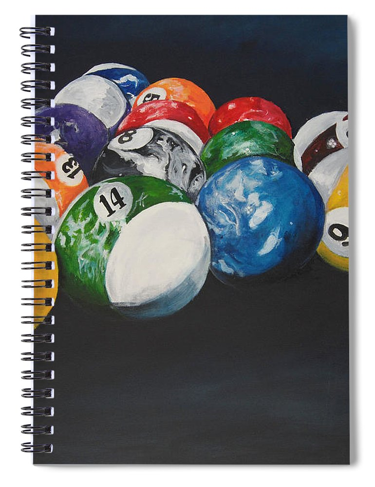 Pool Balls Spiral Notebook featuring the painting Pool Balls by Travis Day