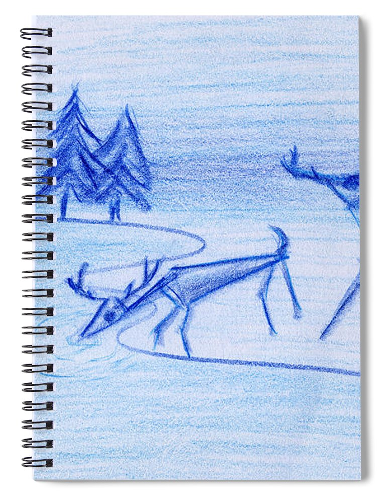 Animals Spiral Notebook featuring the painting Prehistoric Scenic by John Bowers