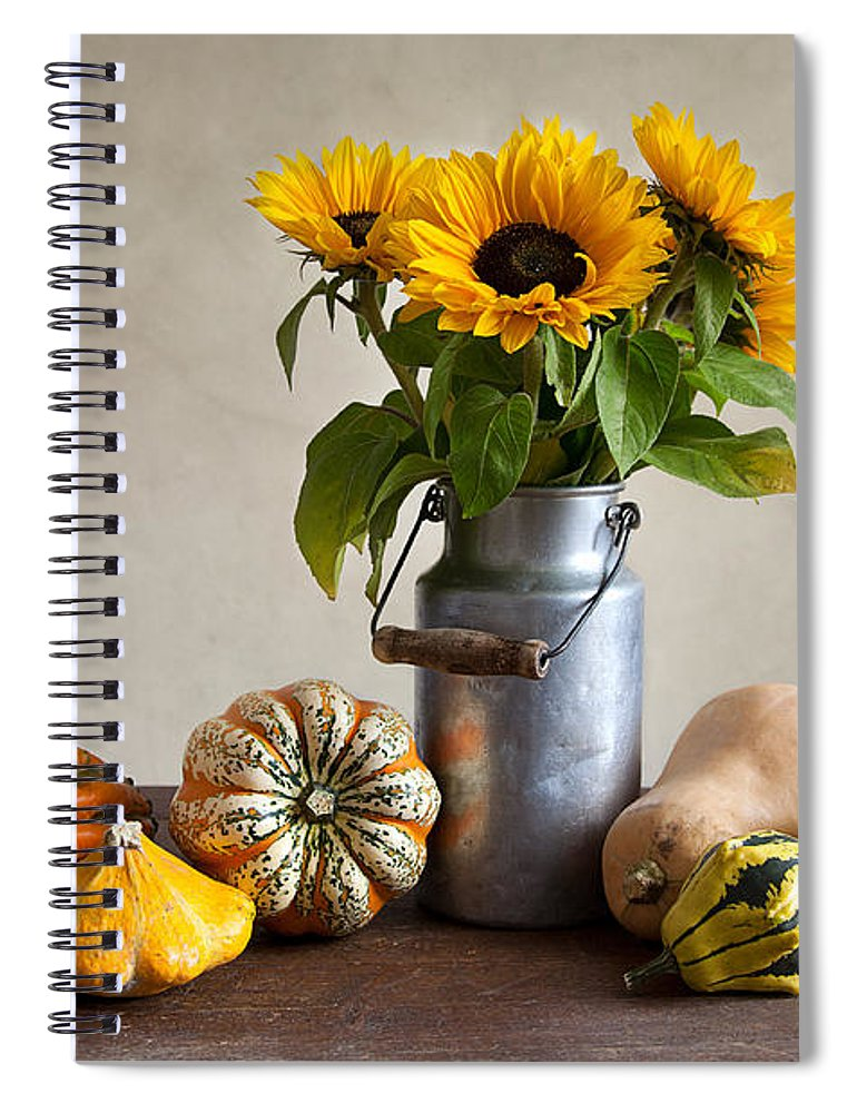 Autumn Spiral Notebook featuring the photograph Pumpkins And Sunflowers by Nailia Schwarz