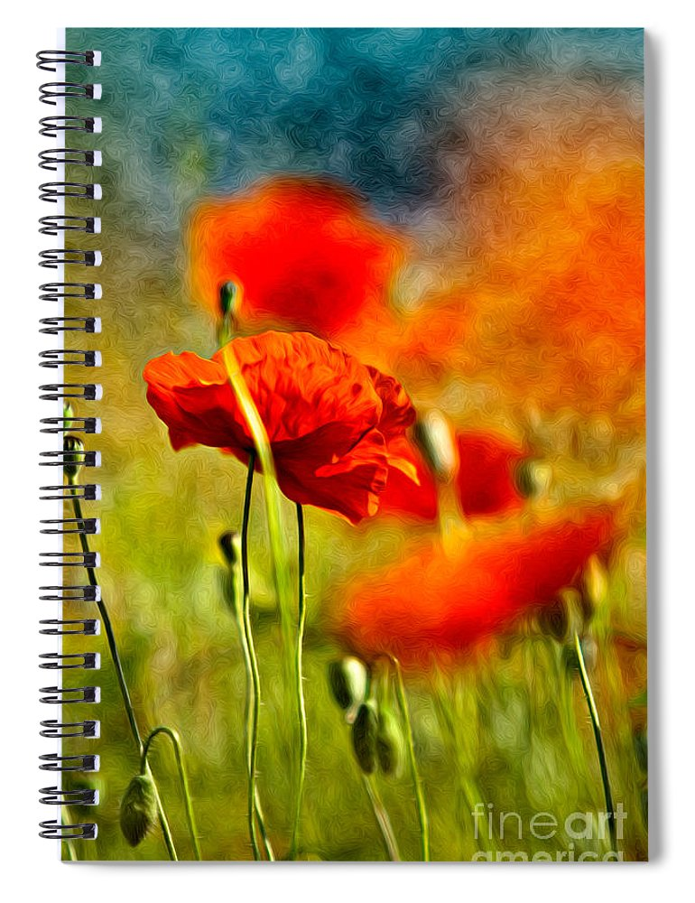 Poppy Spiral Notebook featuring the painting Red Poppy Flowers 01 by Nailia Schwarz