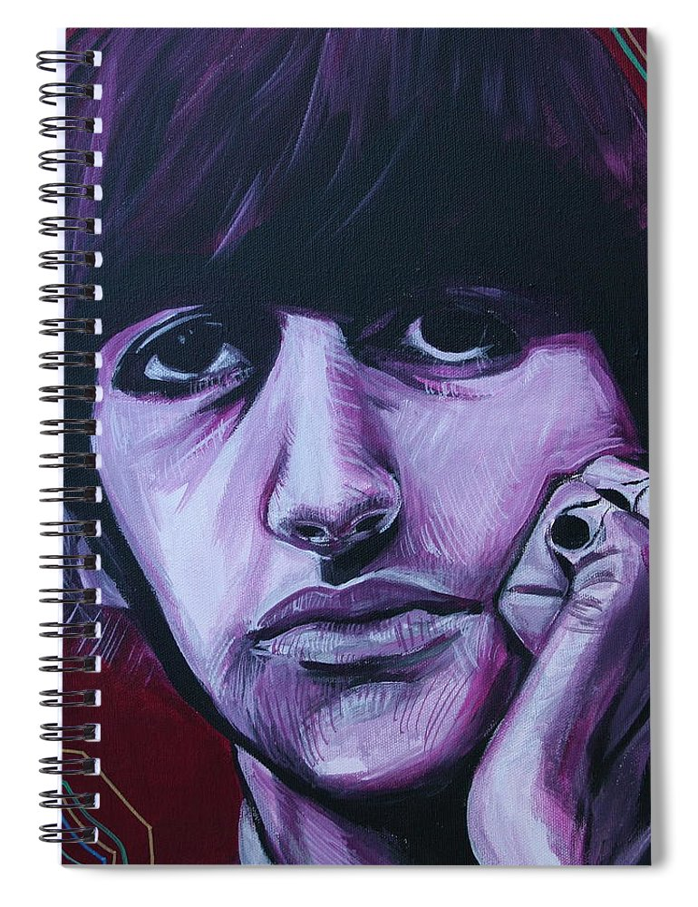 Beatles Spiral Notebook featuring the painting Ringo Star by Kate Fortin