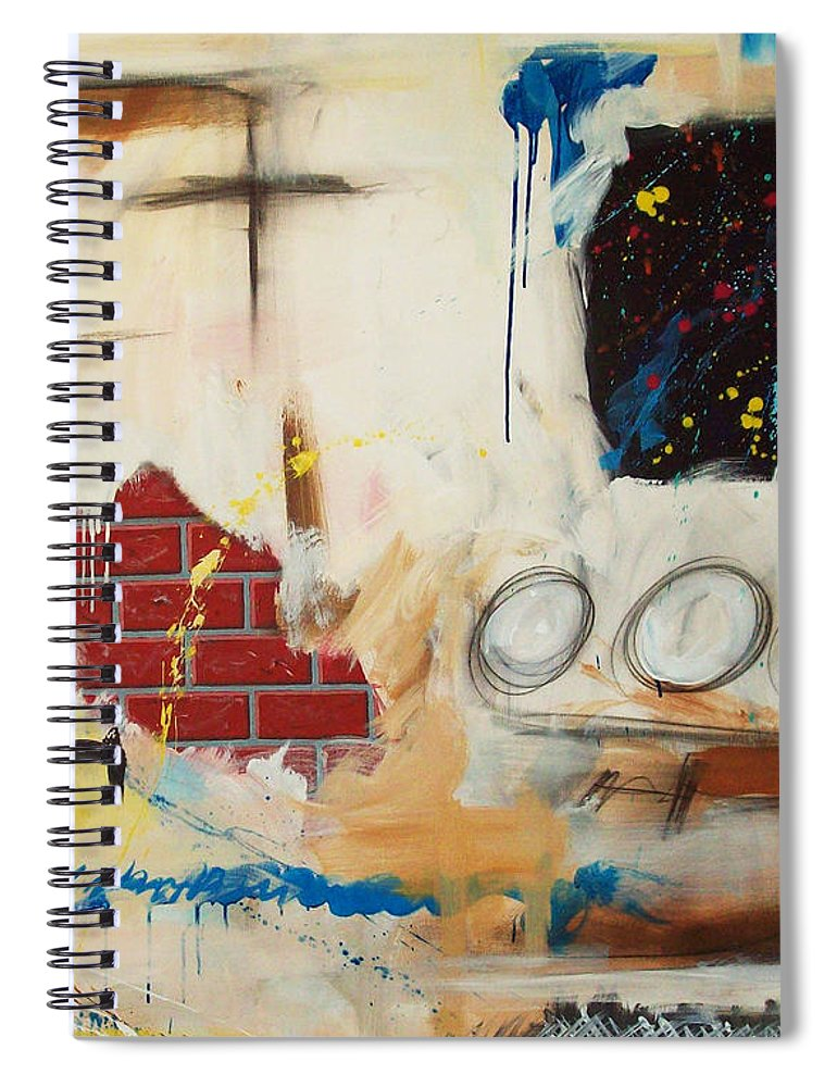 Abstract Spiral Notebook featuring the painting Rough Rider by Snake Jagger