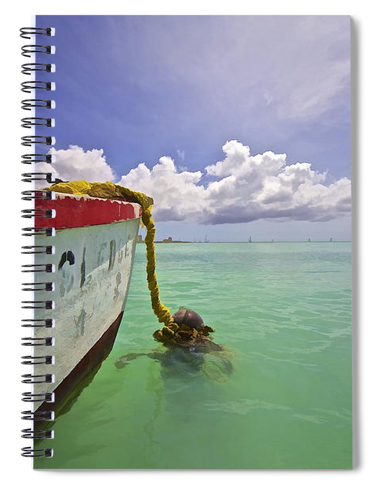 Anchor Spiral Notebook featuring the photograph Rustic Fishing Boat Of Aruba by David Letts