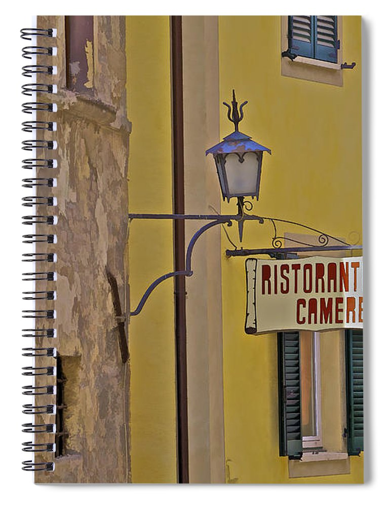 Aged Spiral Notebook featuring the photograph Secluded Restaurant Of Tuscany by David Letts
