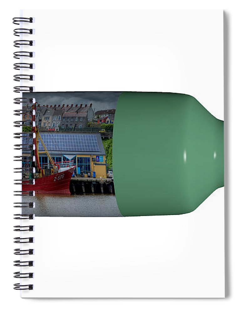 3d Spiral Notebook featuring the photograph Ship On A Bottle With White by Steve Purnell