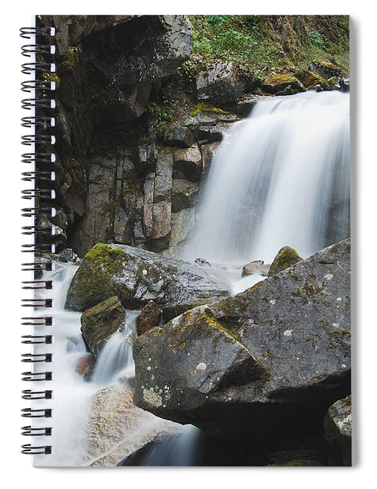 Landscape Spiral Notebook featuring the photograph Skagway Waterfall 8619 by Michael Peychich