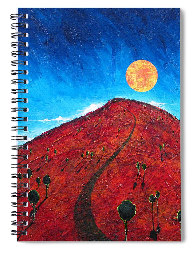 Landscape Spiral Notebook featuring the painting Sun Over Red Hill by Rollin Kocsis