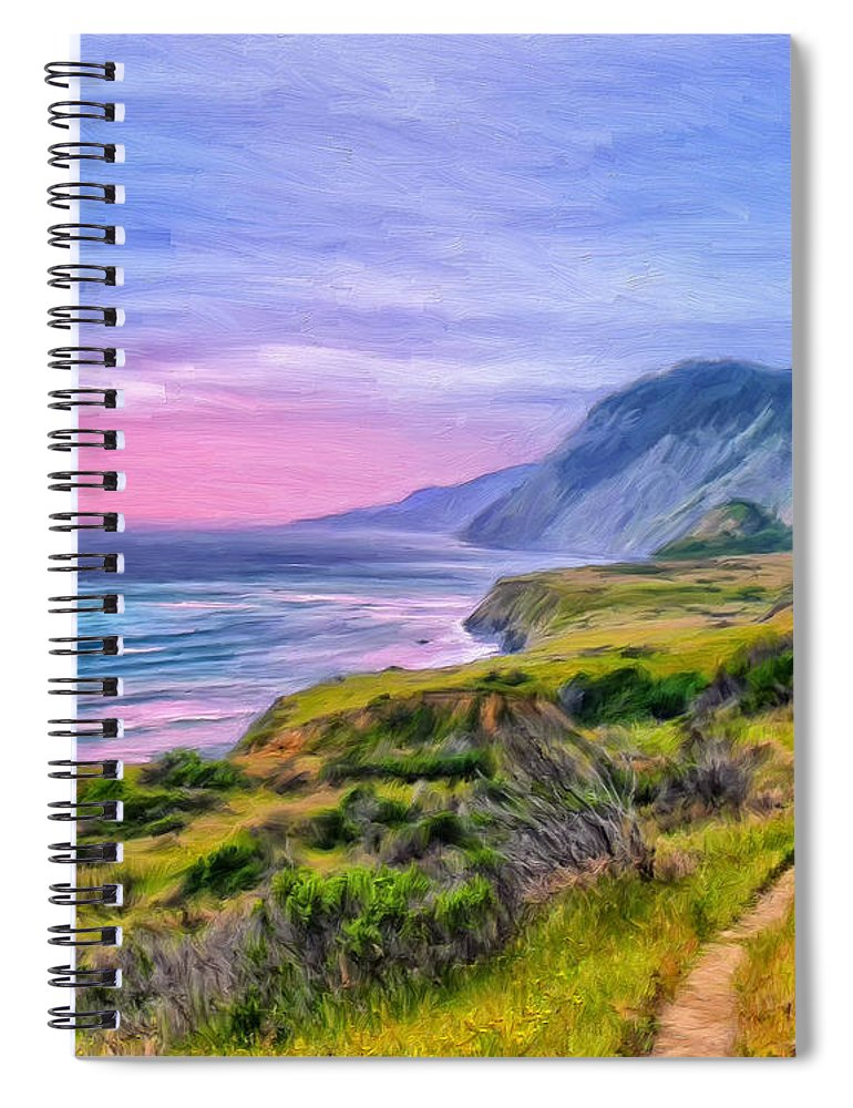 Sunset Spiral Notebook featuring the painting Sunset Bluffs At Big Sur by Dominic Piperata