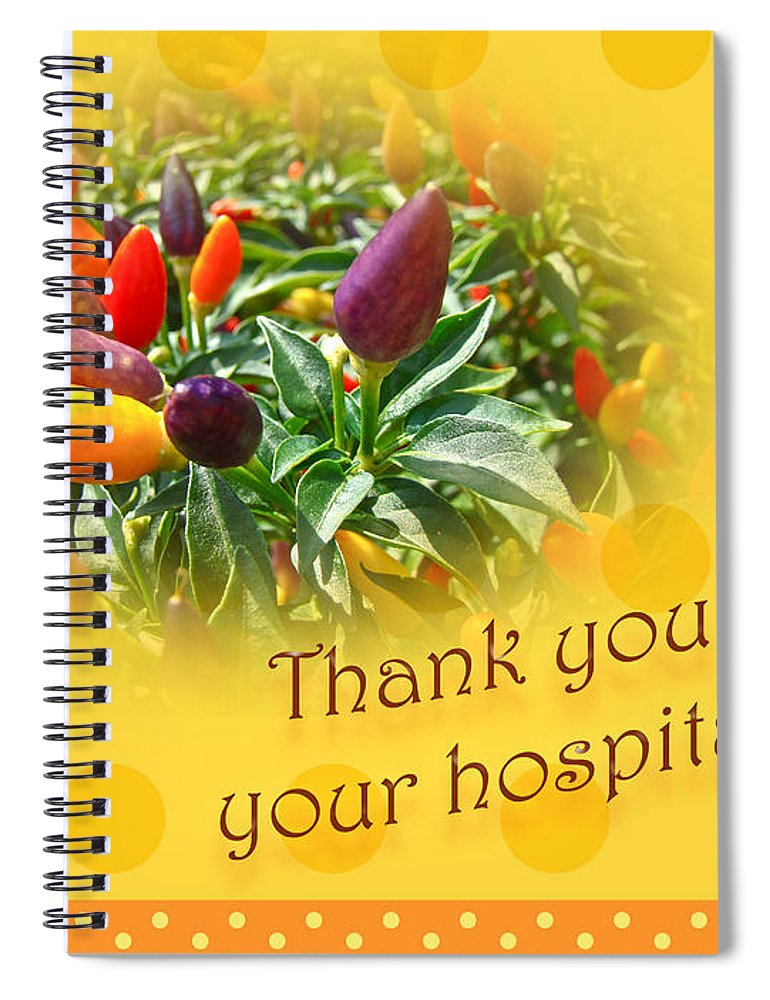 Thank you for your hospitality greeting card decorative pepper thanks spiral notebook featuring the photograph thank you for your hospitality greeting card decorative pepper m4hsunfo