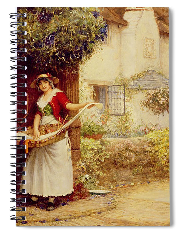 Women; Cottage; Pedlar; Wisteria; Village Life; Cat; Customer; Customers; Birdcage; Commerce; Trade; Traveller; Doorway; Victorian; Selling Songs Spiral Notebook featuring the painting The Ballad Seller by Robert Walker Macbeth