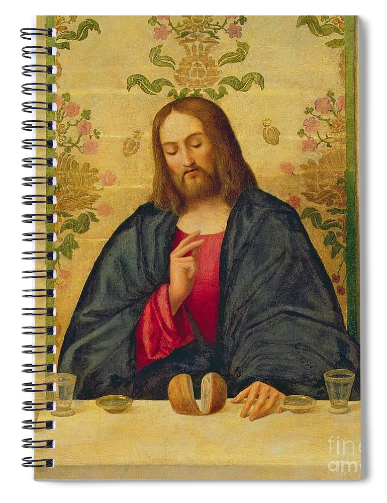 Jesus Spiral Notebook featuring the painting The Supper At Emmaus by Vincenzo di Biaio Catena