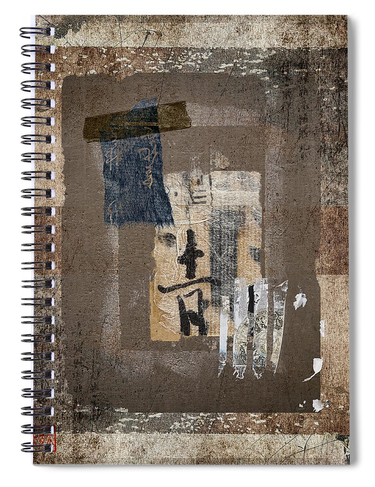 Torn Spiral Notebook featuring the photograph Torn Papers On Wall Number 3 by Carol Leigh