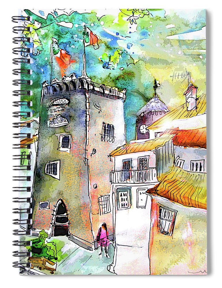 Portugal Spiral Notebook featuring the painting Tower in Ponte de Lima in Portugal by Miki De Goodaboom