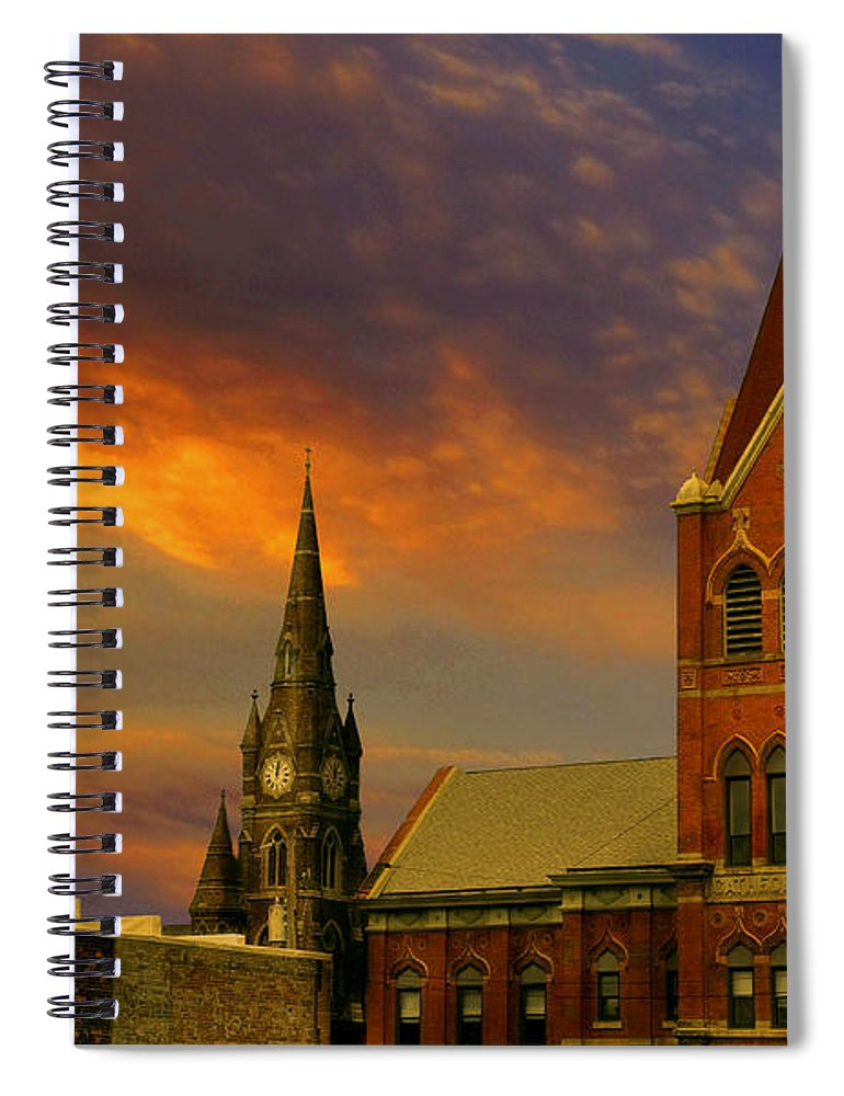 Church Spiral Notebook featuring the photograph Towers Of Faith by Brian Fisher