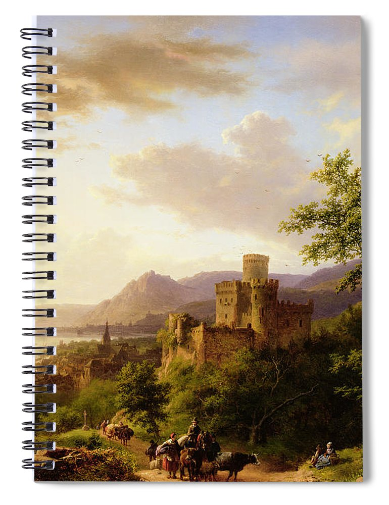 Travellers On A Path In An Extensive Rhineland Landscape Spiral Notebook featuring the painting Travellers On A Path In An Extensive Rhineland Landscape by Barend Cornelis Koekkoek