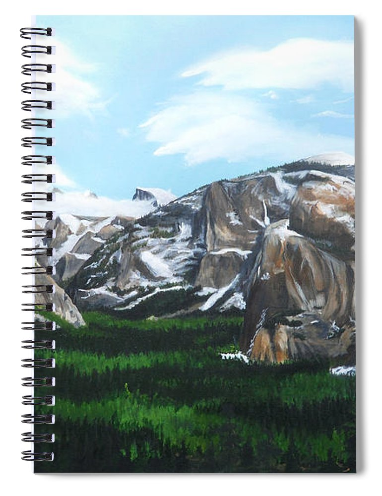 Yosemite Spiral Notebook featuring the painting Tunnel View by Travis Day