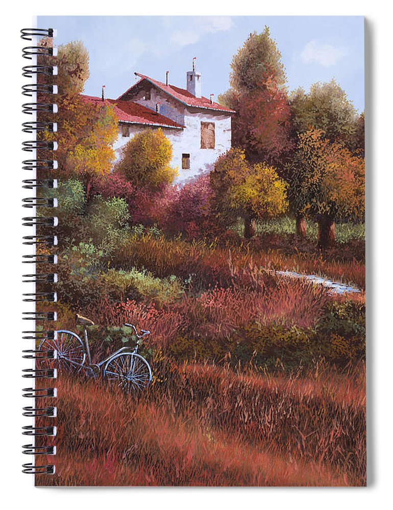 Bike.wood Spiral Notebook featuring the painting Una Bicicletta Nel Bosco by Guido Borelli