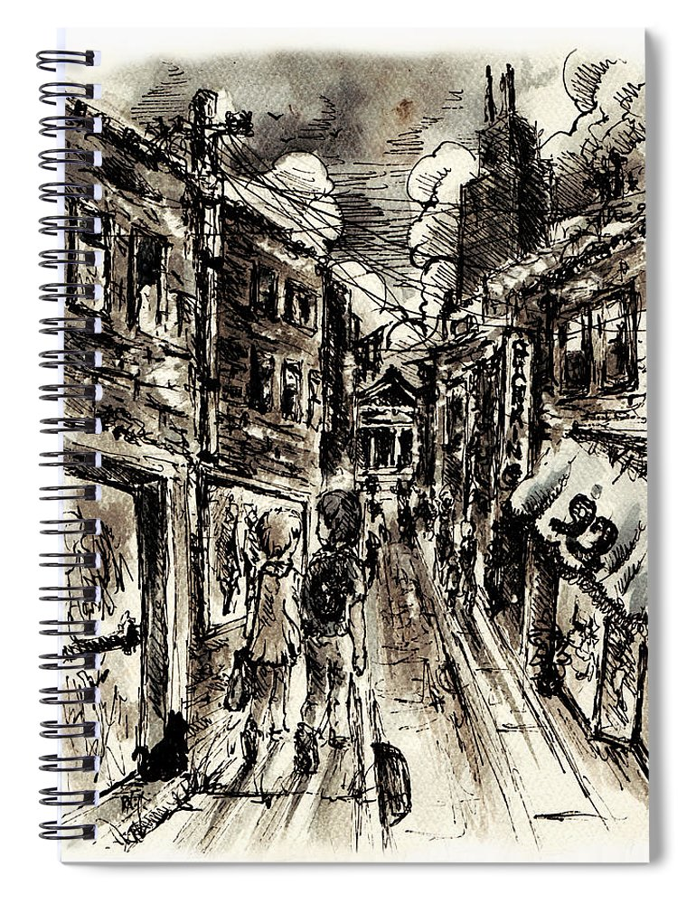 City Spiral Notebook featuring the painting Walkin In The City by William Russell Nowicki