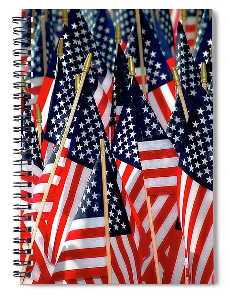Flag Spiral Notebook featuring the photograph Wall Of Us Flags by Carolyn Marshall