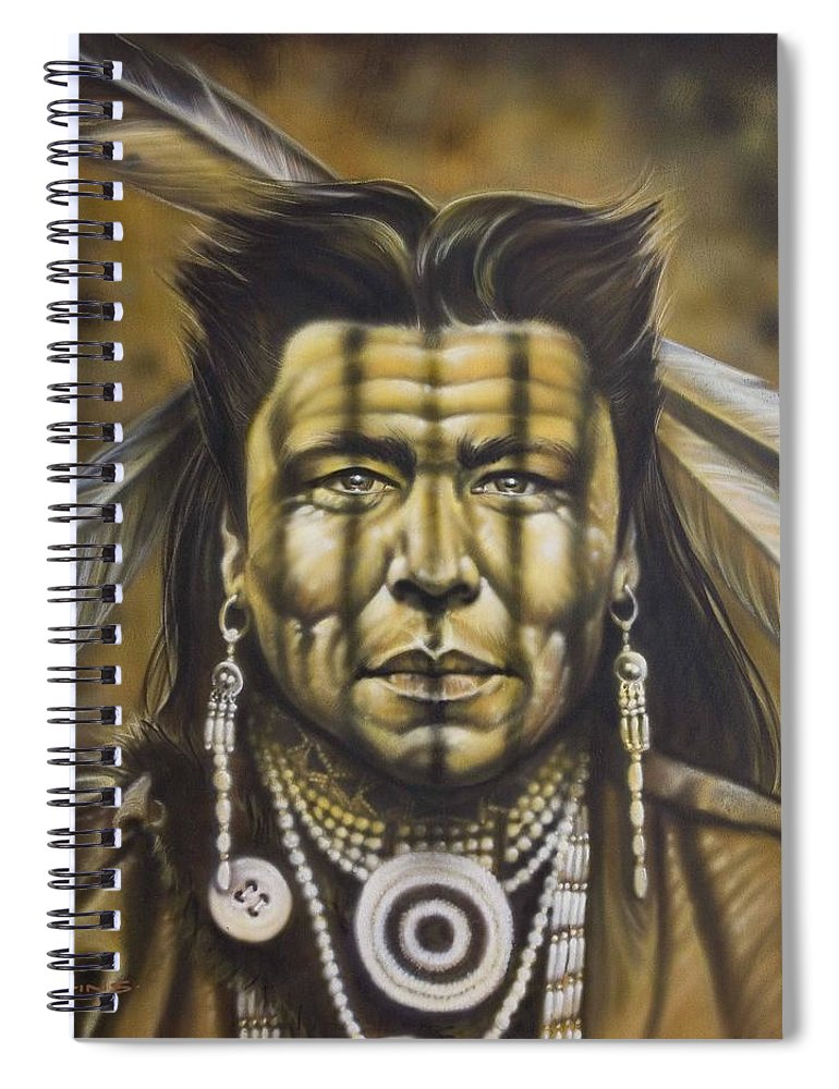 Native American Spiral Notebook featuring the painting Warpath by Timothy Scoggins