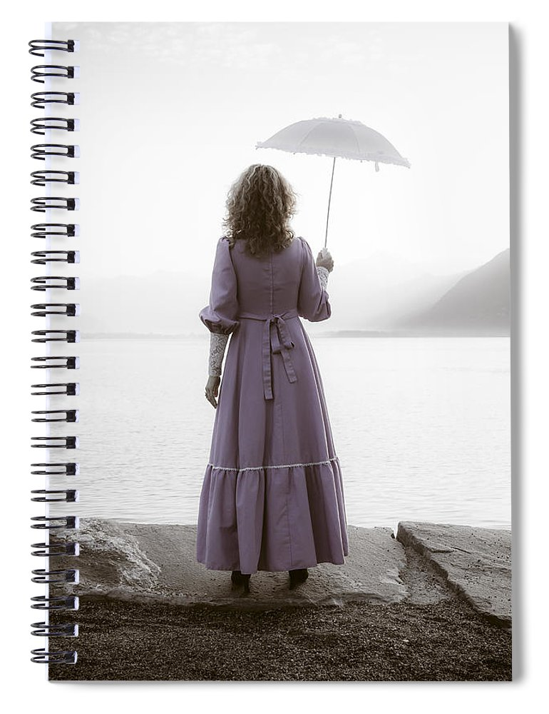 Woman Spiral Notebook featuring the photograph Woman With Parasol by Joana Kruse
