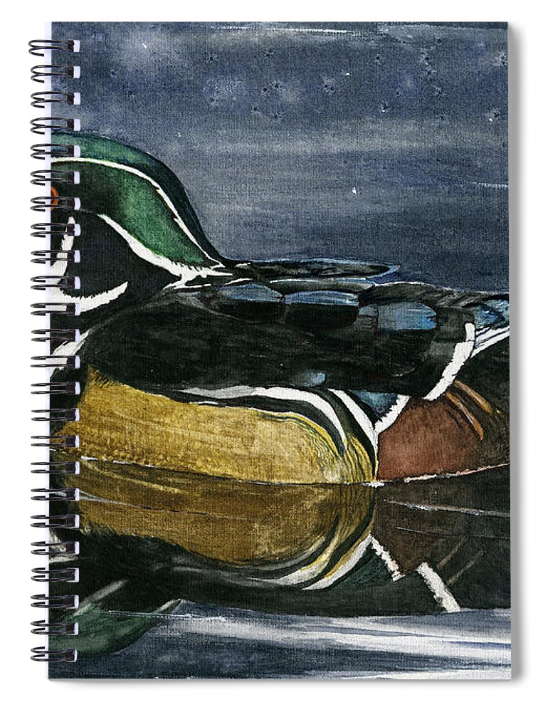 Wood Spiral Notebook featuring the painting Wood Duck by Mary Tuomi