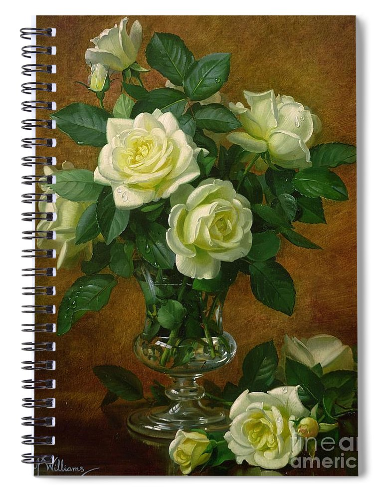 Rose; Still Life; Flower; Arrangement; Glass; Vase; Pale; Floral; Sentimental; Symbolic; Roses; Flowers; Yellow Roses; Leafs; Yellow Roses On Floor Spiral Notebook featuring the painting Yellow Roses by Albert Williams