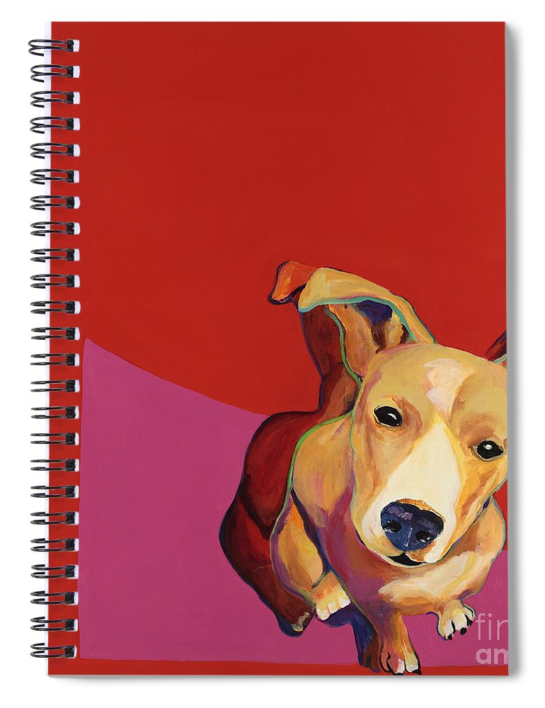 Jack Russell Painting Spiral Notebook featuring the painting  Beggar by Pat Saunders-White