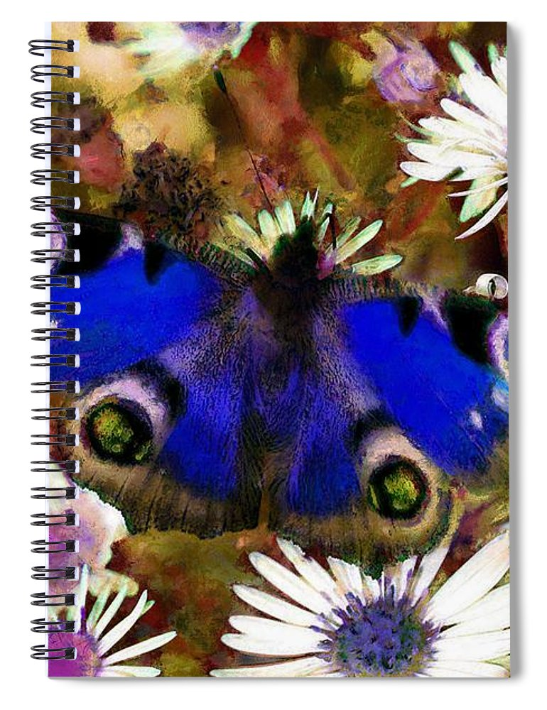 Blue Butterfly Spiral Notebook featuring the drawing Blue Butterfly by Sergey Lukashin