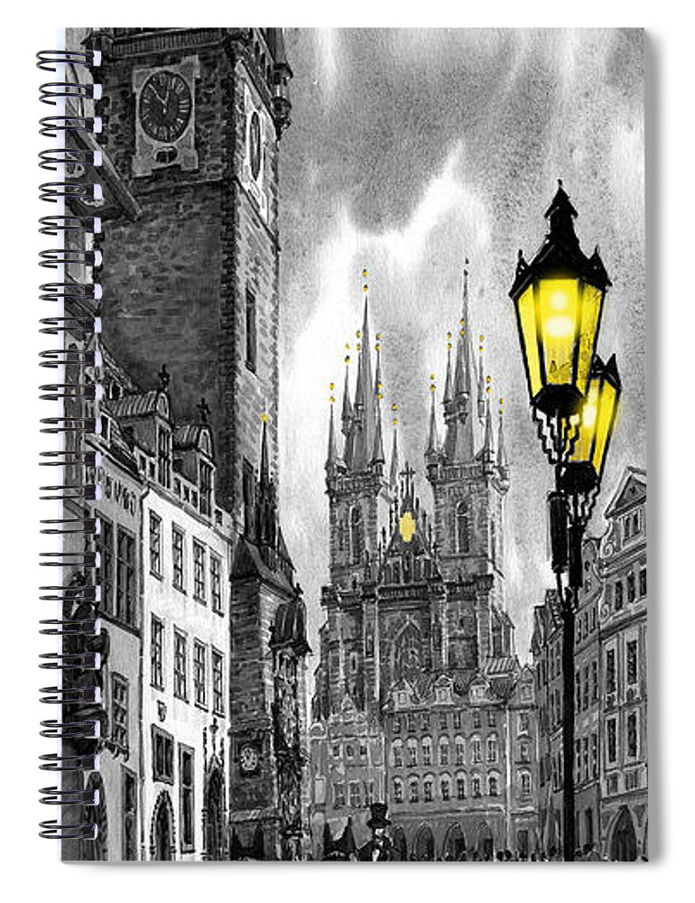 Geelee.watercolour Paper Spiral Notebook featuring the painting Bw Prague Old Town Squere by Yuriy Shevchuk