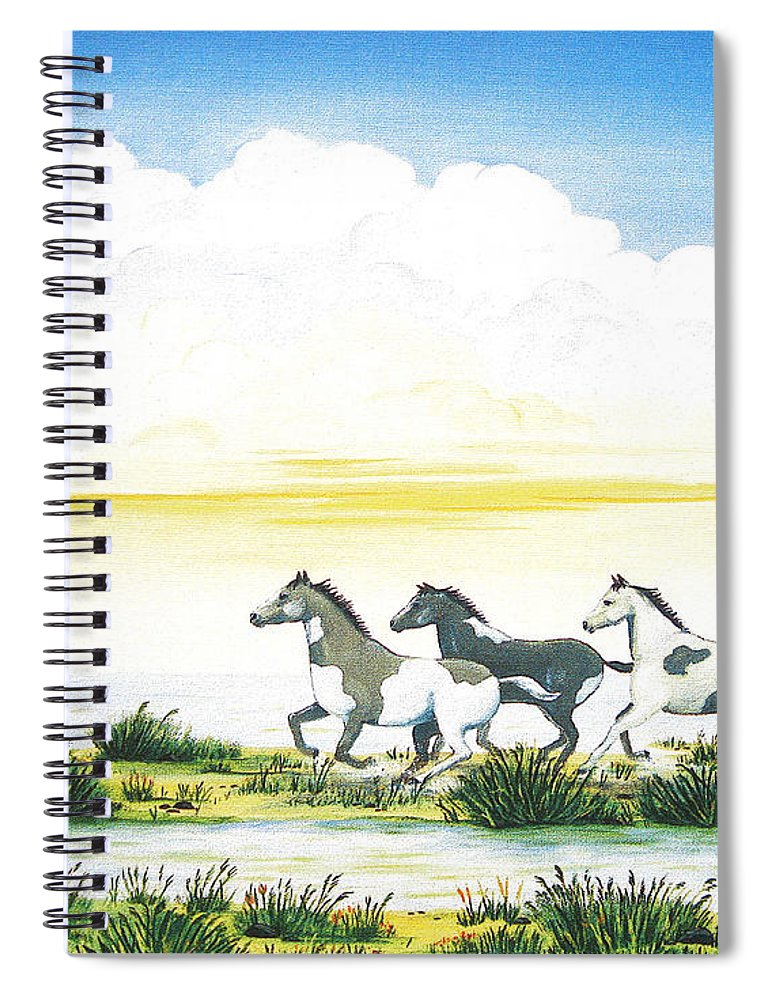 Chincoteague Spiral Notebook featuring the painting Indian Ponies by Jerome Stumphauzer