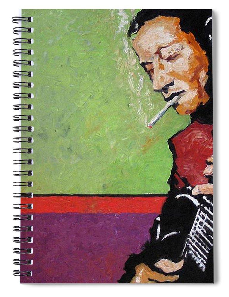Jazz Spiral Notebook featuring the painting Jazz Guitarist by Yuriy Shevchuk