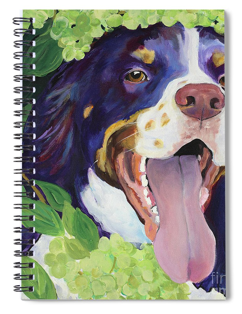 Dog Painting Spiral Notebook featuring the painting Peek-A-Boo by Pat Saunders-White