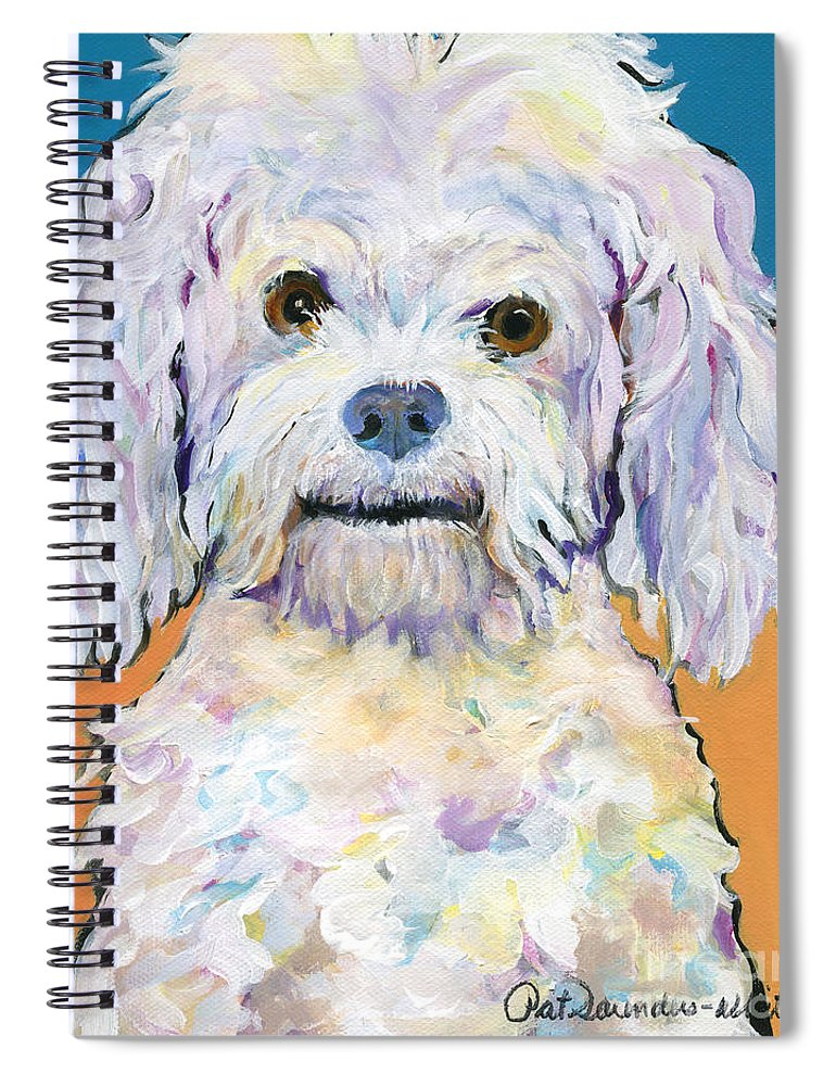 Poodle Spiral Notebook featuring the painting Snowball by Pat Saunders-White