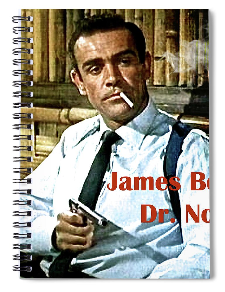 James Bond Spiral Notebook featuring the mixed media 007, James Bond, Sean Connery, Dr No by Thomas Pollart