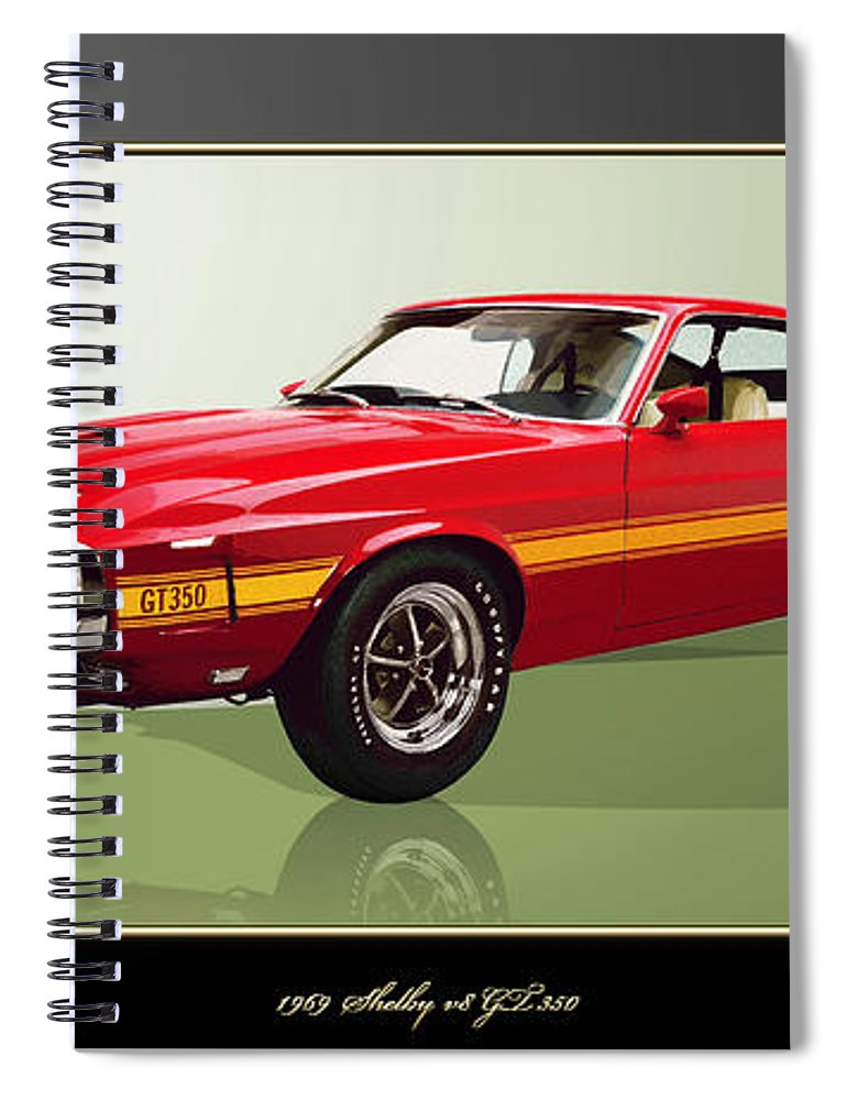 Wheels Of Fortune By Serge Averbukh Spiral Notebook featuring the photograph 1969 Shelby v8 GT350 by Serge Averbukh